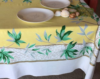 Vintage Tropical Caribbean Tablecloth Palm Tree & Branches Green, Yellow and Gold Fabric Piece 40's 50's Home, Hawaii, Tiki Party Decoration