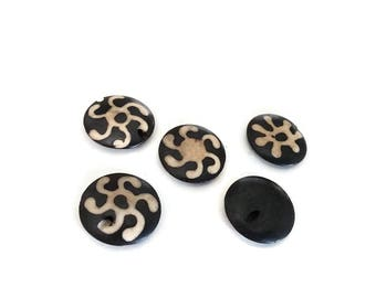 Bone beads 18mm white and black ethnic tribal bone beads 5pcs