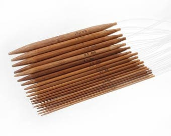 "Set of 18 Natural Bamboo Circular Knitting Needles 80cm (31 1/4"") long"