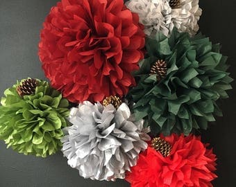 MERRY and BRIGHT 6 tissue paper pompoms vintage holiday xmas dinner party decorations engagement cocktail christmas shiny silver red green