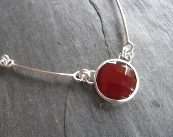 Faceted Carnelian Necklace in Sterling Silver