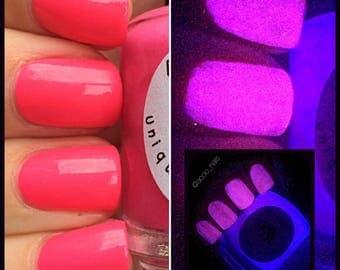 Glow-in-the-Dark Nail Polish - Pink Glows Purple - SHOOTING STAR - Custom Blended Nail Polish - Regular Full Sized Bottle (15 ml size)
