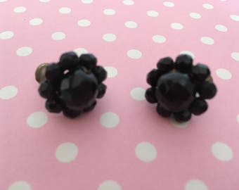 Vintage Classic Jet Black Faceted Glass Crystal Cluster Screw Closure Earrings