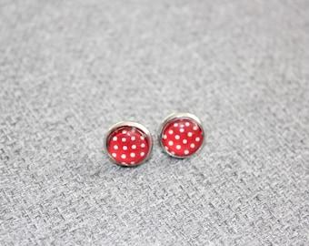 boucles d'oreille sur tige, clou d'oreille, petite boucle d'oreille, acier inoxydable, cabochon, fait au Québec, pois, géométrique, rouge