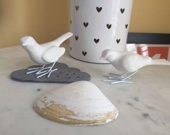 Pair of vintage ceramic white birds