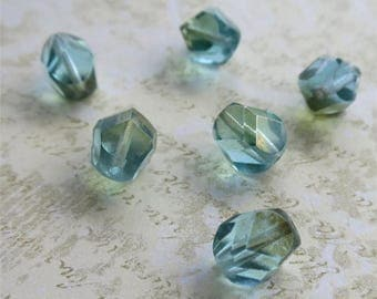 Aqua faceted Czech glass beads nuggets 10mm