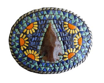 Western Arrowhead Mosaic Belt Buckle, Men's or Women's Southwestern Belt Buckles