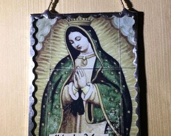 Our Lady of Guadalupe Wall Plaque Soldered Flat Glass Original Photograph Ornament