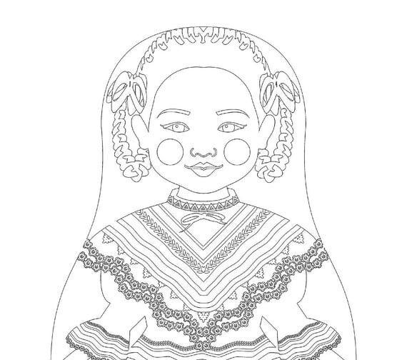 Mexican Dancer Matryoshka Coloring Sheet Printable file