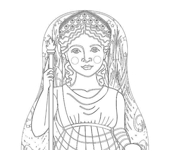 Roman Goddess Juno Doll Coloring Sheet Printable Matryoshka