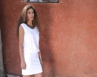 White blouson dress  L - XL  /Mini dress/ White dress / Summer dress/ boat neckline dress/ Shihar / sleeveless dress