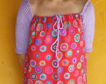 Drawstring Peasant Top with Knitted Three Quarter Length Sleeves
