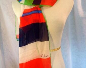ECHO Scarf Silk  Made in Japan Long n Light