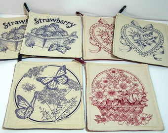 Vintage Potholders Set Of Six, Hearts, Strawberries, Butterflies And Flowers