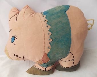 Vintage Embroidered Pig Pillow Toy Vogart Type