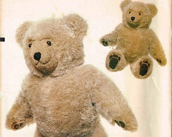 On Sale Plush Fur Teddy Bear Vogue 8658 Sewing Pattern Stuffed Childrens Toy Designed by Linda Carr 23 Inch Tall Uncut Factory Folded
