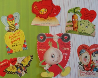 Anthropomorphic Vintage Valentines 1940s 1950s Butterfly Honey Bee in Vintage Valentine Lot No 105 Total of 6