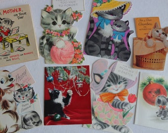 Kittens and Cats for Christmas Mothers Day and Birthday in Vintage All Occasion Greeting Card Lot No 277 Total of 8
