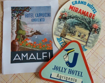 Italy Travel Ephemera Vintage Hotel Stickers Labels for Grand Hotel Miramare Taormina Jolly Hotel Arigento Hotel Cappuccini Amalfi Lot of 3