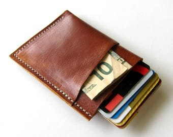 Leather Wallet 3 Triple Pocket - Women's or Men's - Smooth Leather