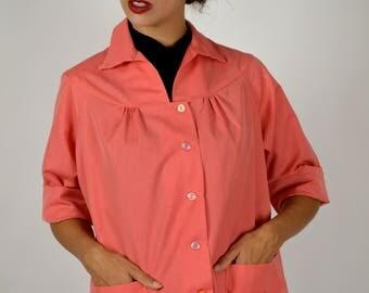 Summer Jacket, Cotton Jacket, Smock Jacket, Artist Apron, Artist Smock, House Work Apron, Orange Jacket, Orange Smock