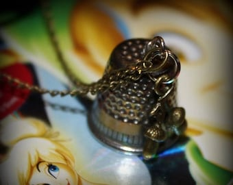 Summer SALE Peter Pan Wendy Thimble Kiss Acorns Charm Necklace