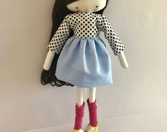 Handmade rag doll , Mia- ooak cloth art rag doll included sneakers