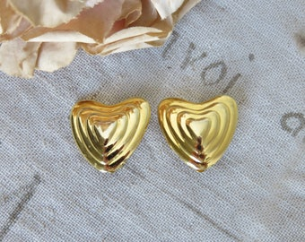Vintage French Gold Tone Clip On Escada Earrings, Margaretha Ley Designer Jewelry, Paris Chic Fashion Accessory, 1980s Vintage Costume