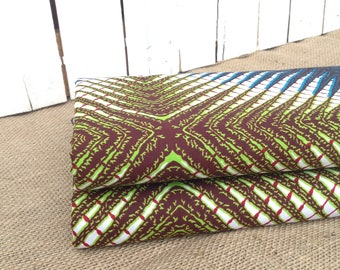 Green Navy Red African wax print, African batik fabric, African print, African wax print, Geometric, African fabric, BY THE YARD 100% cotton