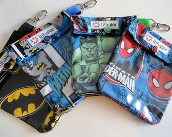Epi Auvi Q - Inhaler - Ouch Pouch Clear Front W/ Clip Holds Asthma Puffer Square Injector or First Aid - 4x5 Your Choice Superhero Fabric