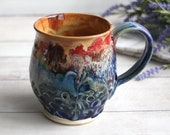 Stoneware Pottery Mug with Artful Dripping Gold and Multi Colored Glazes Handmade Coffee Cup 16 oz. Ready to Ship Made in USA
