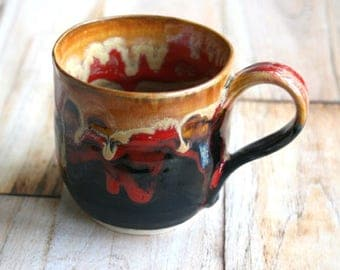 Small Stoneware Pottery Mug with Artful Melting Dripping Earthy Gold and Red and Black Glazes 10 oz. Handmade Coffee Cup Made in USA