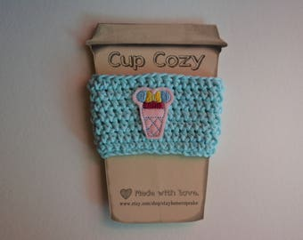 Crocheted Cup Cozy- Blue with Pink Minnie Ice Cream