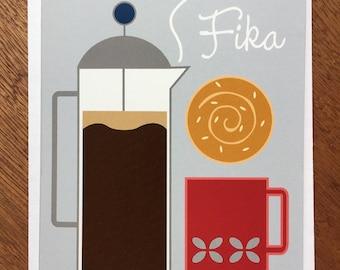 Fika, Swedish Coffee Break, card