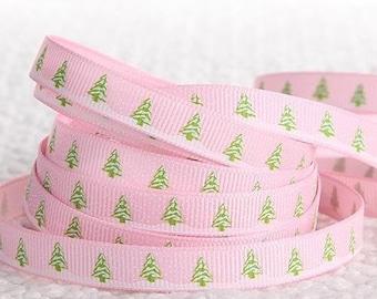 Ribbon grosgrain Ribbon 10mm ❉ ❉ Christmas Pink - White