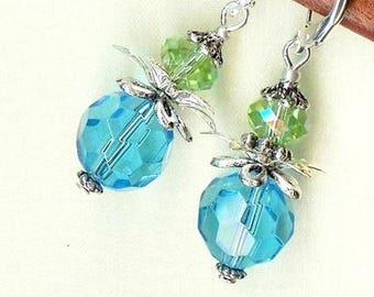 LOTUS flower aquamarine OR289 green blue crystal earrings