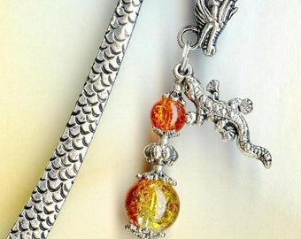 The fire Orange Tibetan silver beads MP122 DRAGON bookmark
