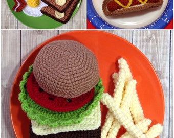Plush Play Food, Hamburger Hot Dog and Breakfast Pretend Food