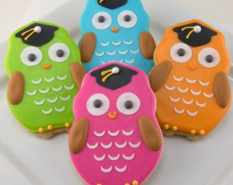Graduation Owl Cookies - 24  Decorated Sugar Cookie Favors