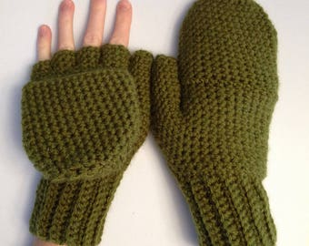 Convertible Mittens in Olive Green, Flip Top Mittens, Fingerless Gloves With Mitten Flap, Olive Mittens, Womens Winter Mittens, Dark Olive
