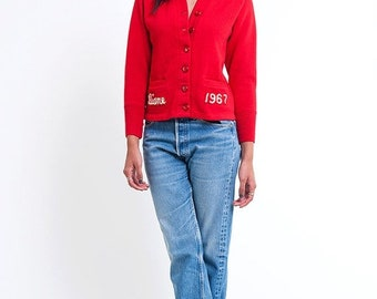40% OFF The Vintage Red 1967 Cavettes Schoolgirl Sweater Cardigan