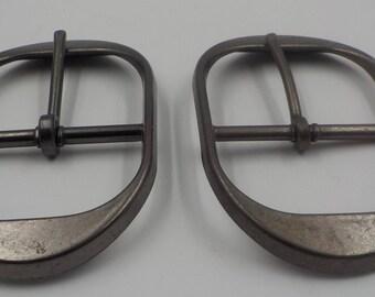 Vintage Lot of 2 Large Heavy Metal  Belt Buckles -Elongated Oval Shape -NOS- 1960 Era