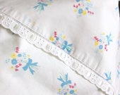 2 Full Size Sheets Double Bed All Cotton Print Small Blue Bouquets One Small Hole Flat Fitted Vintage Bed Linens