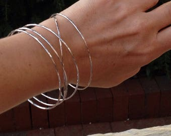 Set of 7 Bangles, Sterling Silver bangles, Stack of bangles, Simple Sterling bangle, gift for her, seven bangle set,hammered bangle,handmade