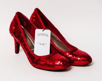 Ready to Ship - WMNS Size 9 Candy Apple Red Sequin High Heels Pumps Shoes
