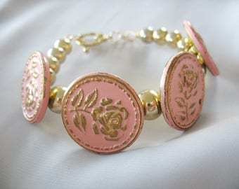 Button Bracelet, Pink Gold Roses, Enameled, Metal, Embossed, Gold Beads, Shank Buttons, Vintage Buttons, Toggle Clasp, Repurposed