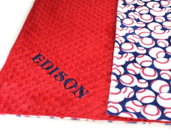 Minky Baby Blanket boy / Personalized Baby Blanket / Red Blue Baseball  // Baseball Baby Blanket // Name Baby Blanket / Baby Bedding