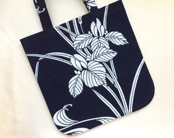 Small Tote Upcycled from Vintage Yukata - Iris on Indigo
