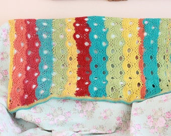 "Handmade Crochet from Caron Cake Rainbow Newborn Baby Blanket, Photography Props Blanket, Baby Wrap Blanket, Car seat tent canopy /30""X 42"""