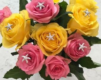 FREE SHIP 6 Bouquet Picks Silver Starfish Centerpieces Boutonnieres Flower Pins Floral Pins Destination Wedding Bridal Flowers